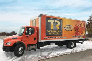 Computer-electronics-recycling-indianapolis-free-pick-up-orange-truck
