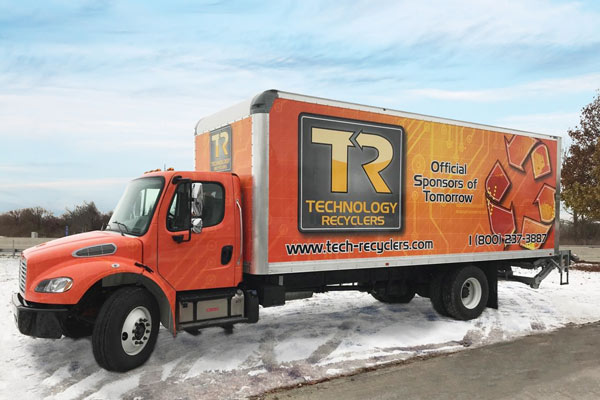 Computer electronics recycling indianapolis free pick up orange truck