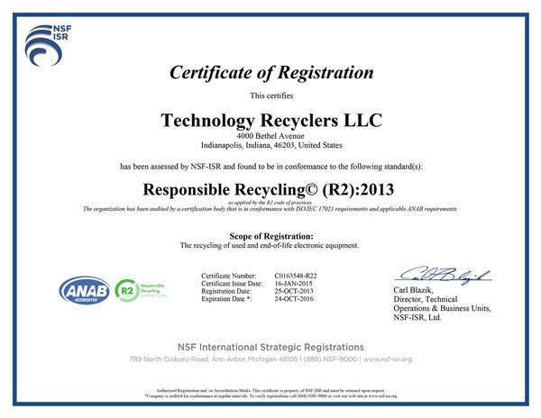 Computer electronics recycling indianapolis r2 certified
